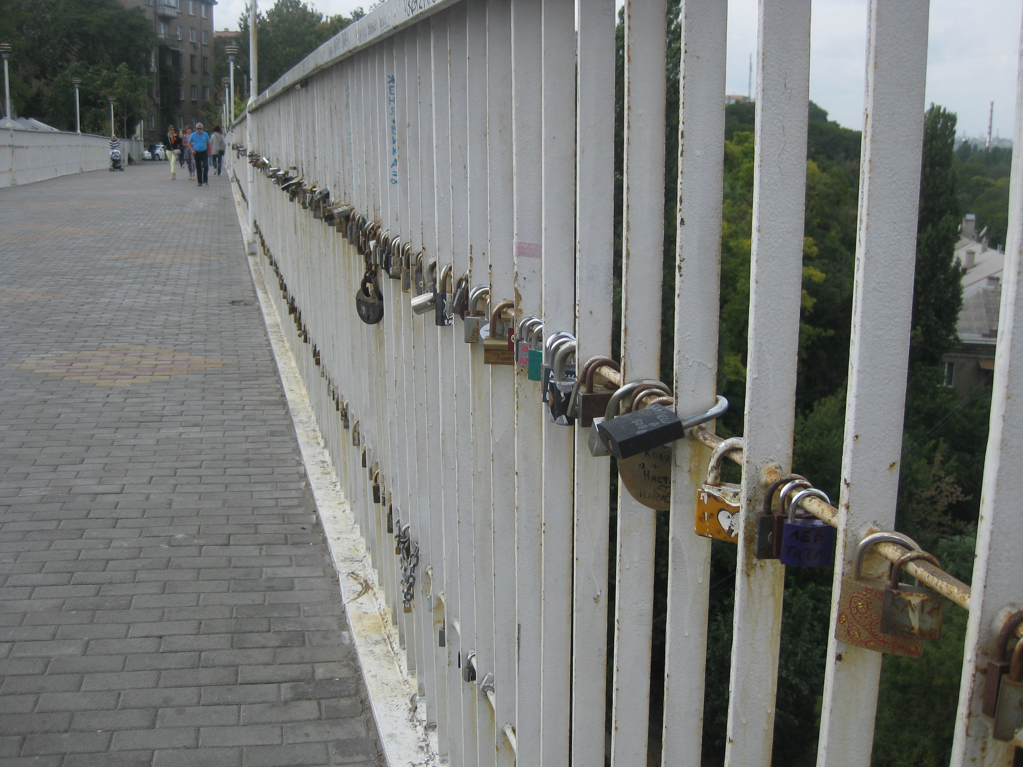 Locks on rails of mother-in-law's bridge.